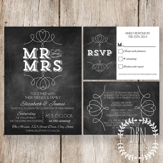 INSTANT DOWNLOAD with EDITABLE TEXT /// Chalkboard Wedding Invitation /// Mr and Mrs /// Printable Invitations RSVP Card and Information Card /// DIY Party /// BY DBN Graphics