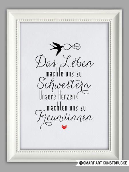 """""""SCHWESTERHERZ"""" Kunstdruck Geschenk von SMART ART Kunstdrucke ® auf DaWanda.com"""
