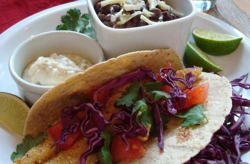 ... Crusted Fish Tacos with Jalapeño Lime Sauce and Spicy Black Beans
