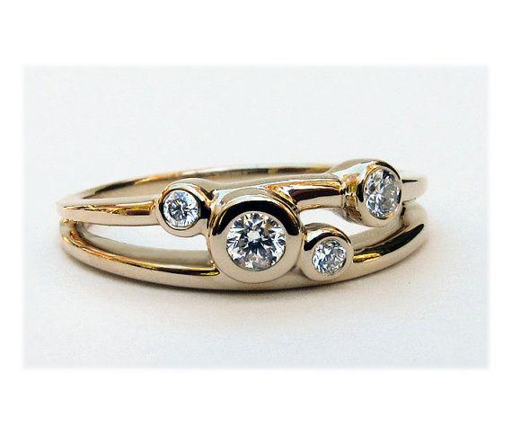 4 Stone Wedding Ring by BossStudiosJewelry - $585