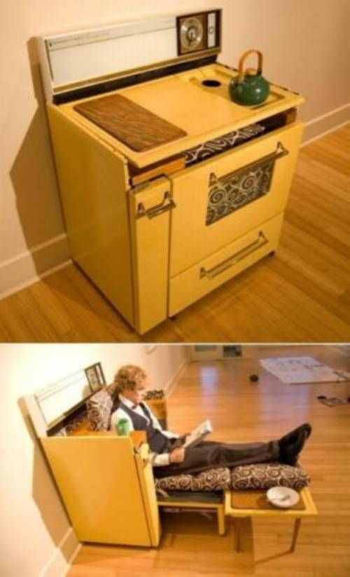 Repurposed :: someone converted an old stove/oven into a nifty folding lounger: Design Inspiration, Lounges Chairs, Vintage Stoves, Cute Ideas, Repurpoed Ovens Range, Recycle Furniture, Lounge Chairs, Customer Service, Custom Service