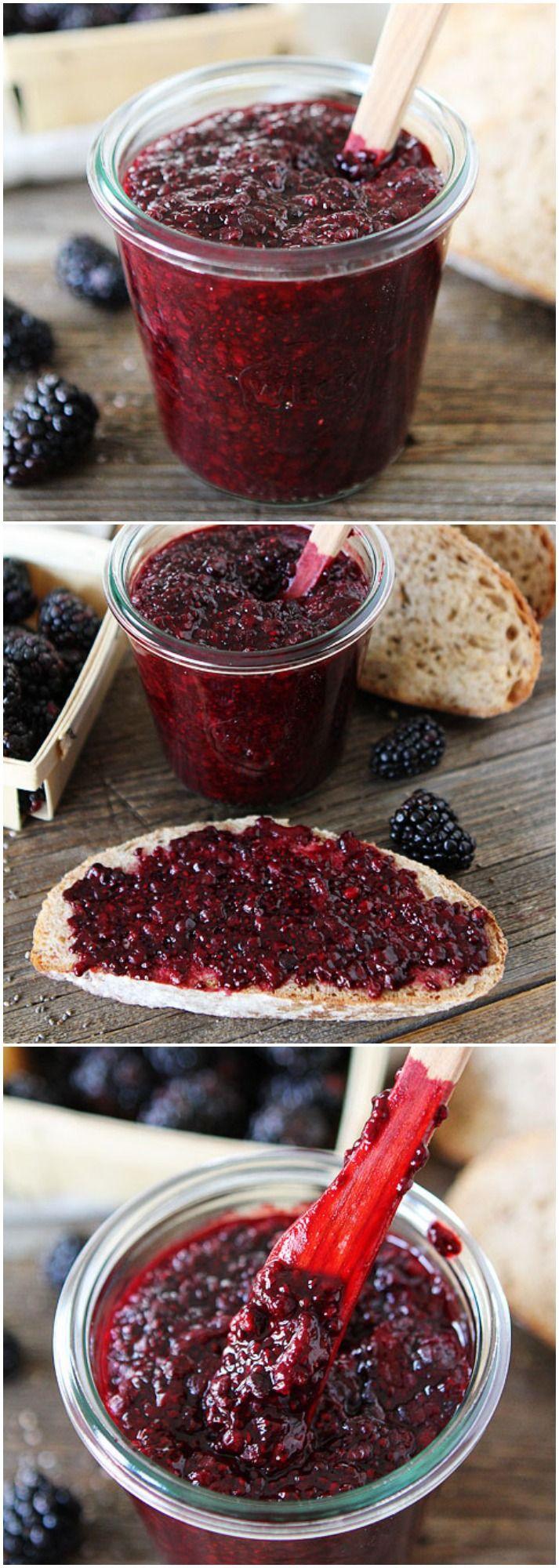 Blackberry Chia Seed Jam on twopeasandtheirpod.com Homemade healthy jam in 20 minutes!