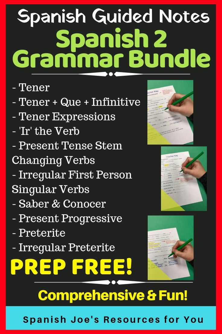 Spanish 2 Guided Notes Teacher Key Bundle Guided Notes Teaching Spanish Writing Practice Worksheets [ 1102 x 735 Pixel ]