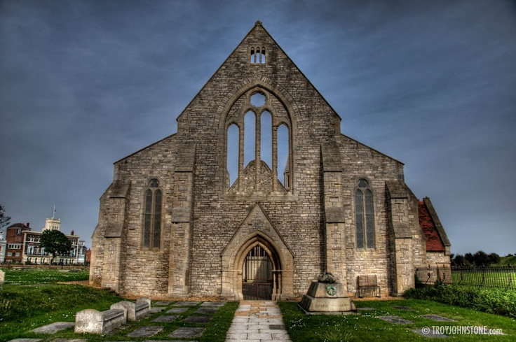The bombed out remains of the Royal Garrison Church in Portsmouth, England.