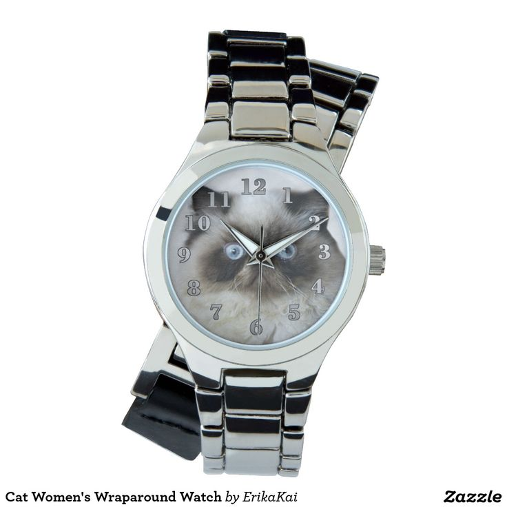 Funny Cat Women's Wraparound Silver Watch, silver or gold.