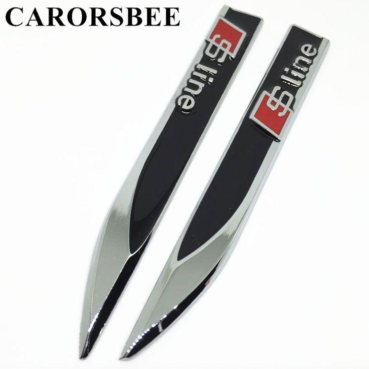 Carorsbee 1ペア3d金属車のドアフェンダーサイドsline sラインエンブレムバッジリアトランクステッカー用アウディa3 a4 a5 a6 b5 b6 b8 c5 c6