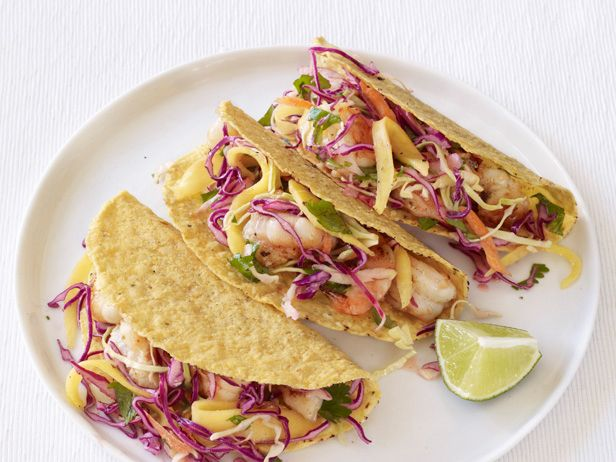 Shrimp Tacos With Mango Slaw from #FNMagFood Network, Fish Tacos, Mango Slaw, Avocado Salsa, Mr. Tacos, Shrimp Tacos, Savory Recipe, Bangin, Swap Mahi