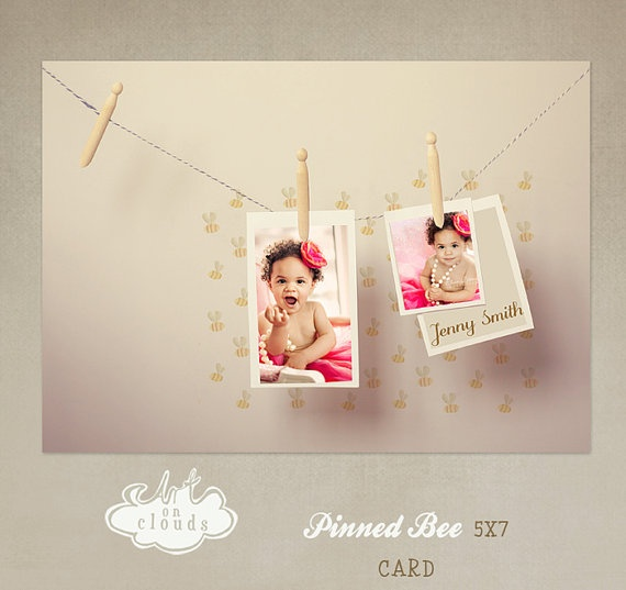 Pinned Bee card template C006 by ArtonClouds on Etsy, $8.00