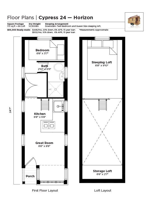 Tiny house Cypress floor plan - alternating tread staircase instead of ladder and I'm good.