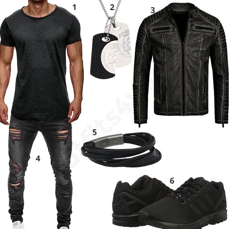 Cooles Männer-Outfit mit anthrazitem S!rpreme Shirt, Diesel Anhänger, Fossil Armband, RedBridge Lederjacke, Merish Jeans und Adidas Schuhen.
