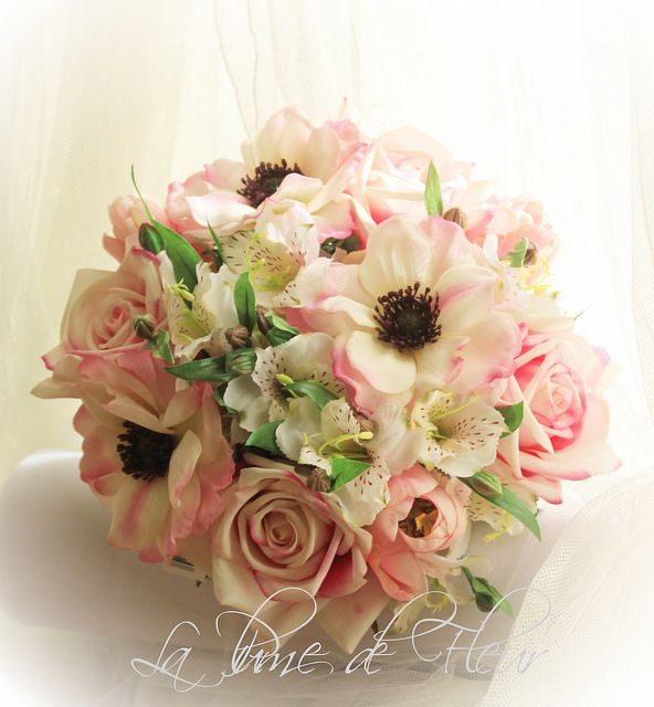 Judy J's Bridesmaid's bouquet  Sienna Pink Ice roses, pink anemones, pale pink tulips and white alstromeria