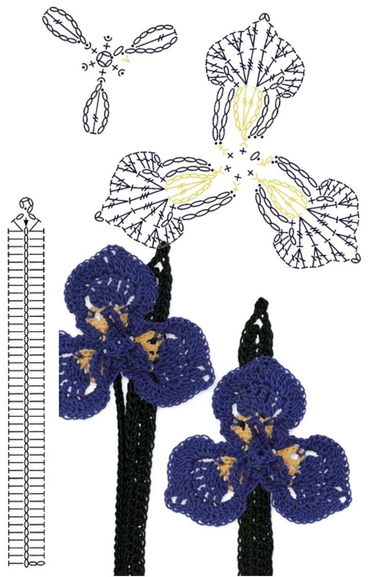 No.79 Wild Iris Crochet Flower Motifs / 와일드 아이리스 코바늘 플라워 모티브도안
