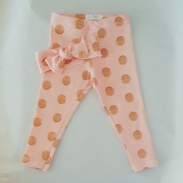 Organic Pink with Gold Dots leggings Luluandmilly.com.au