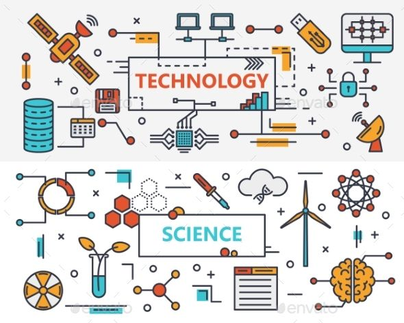 Vector set of Technology and Science concept banners. Linear schemes. Thin line flat design infographic elements, icons for web, p