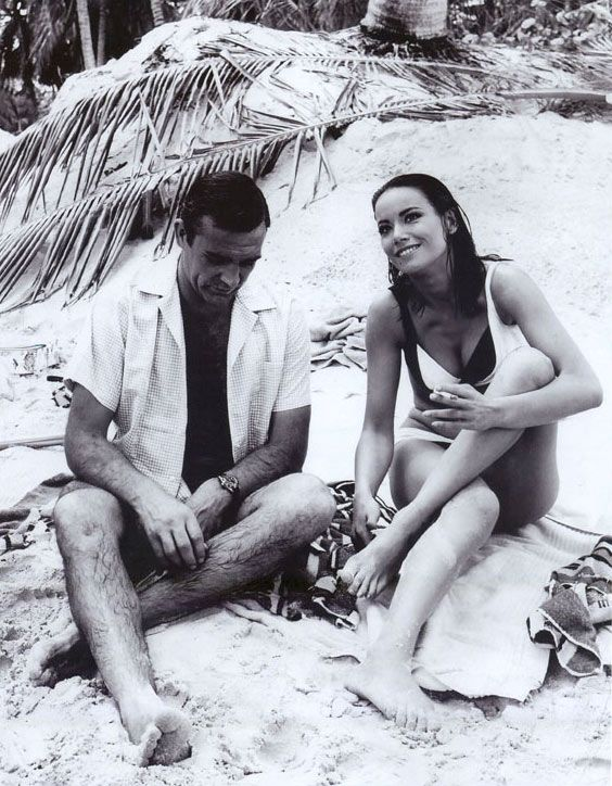 """Sean Connery and Claudine Auger on the set of """"Thunderball"""" (1965)"""