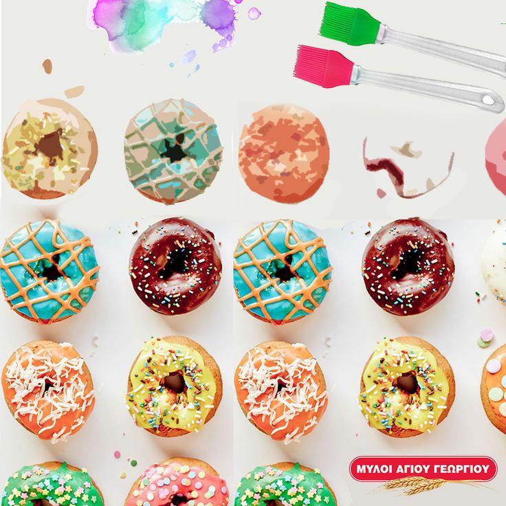 Με λίγο χρωματιστό γλάσο, ζαχαρόπαστα, τρούφα, νιφάδες σοκολάτας ή τριμμένο μπισκότο, το μικρό σας θα χαρεί απίστευτα με τον πιο λαχταριστό καμβά: τα αγαπημένα σε όλους ντόνατς! Αφήστε το να τα διακοσμήσει όπως επιθυμεί και ετοιμαστείτε για τρελές δημιουργικές στιγμές στην κουζίνα! #myloiagiougeorgiou #cook&play #donuts #creative