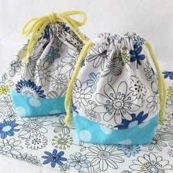 再販【受注製作】お弁当袋&コップ入れ&ランチョンマット 3点セット 塗り絵が出来る花柄