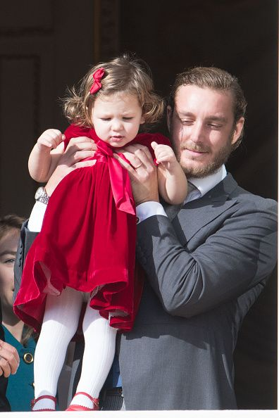 India Casiraghi and Pierre Casiraghi greet the crowd from the palace's balcony during the Monaco National Day Celebrations on November 19 2016 in...