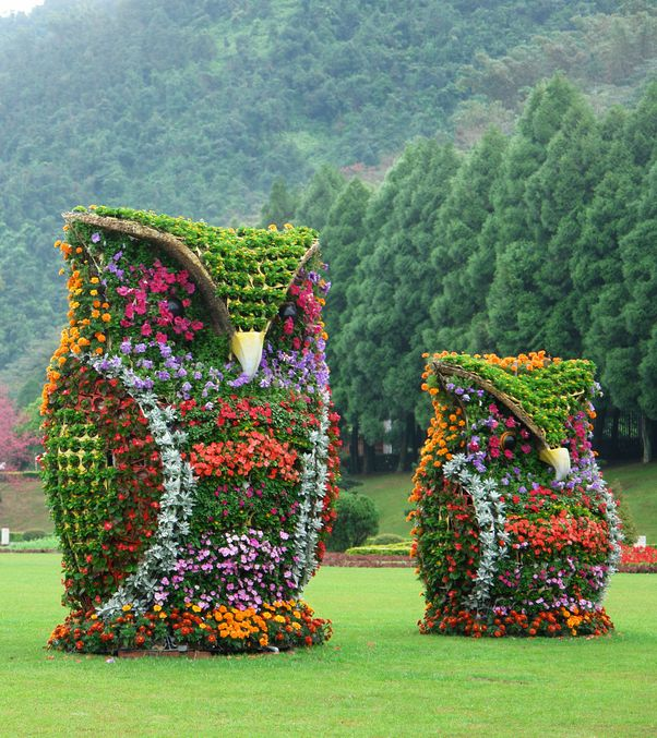 Flower Owl live Sculptures
