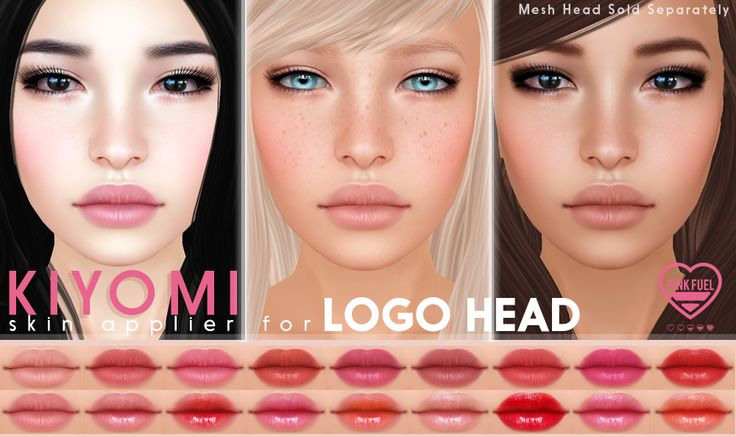 "Introducing ""Kiyomi"" for LOGO Mesh Heads. (Shown on LOGO ALEX Mesh head.) 50% off for We <3 RP + 6 eyebrow colors (no eyebrow included) + 17 Lipsticks + 7 Eyeshadows + 4 Freckle Variations (full..."