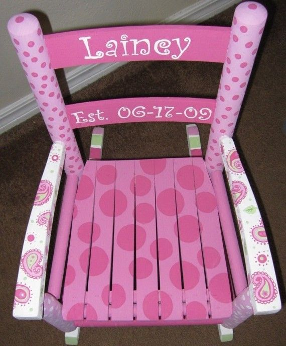 I still have my old wooden rocking chair from when I was a little girl. I should repaint it to look like this & if Caitlin or Emma Grace have a little girl I could pass it down to them :)