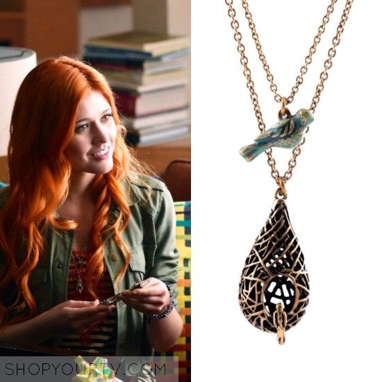 Clary Fray (Kathrine McNamara) wears this bird and nest necklace in this  episode of Shadowhunters.