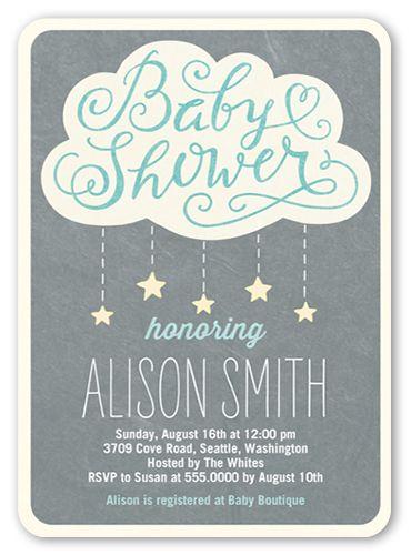 Showering Stars Boy 5x7 Invitation | Baby Shower Invitations | Shutterfly