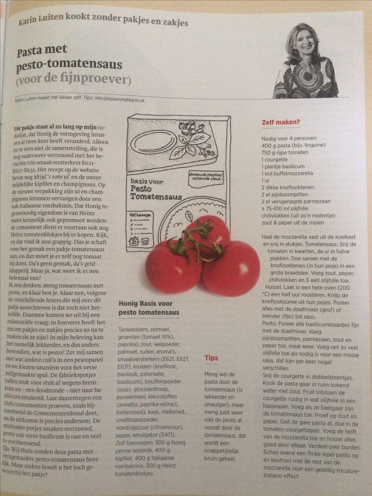 Pasta met pesto tomatensaus