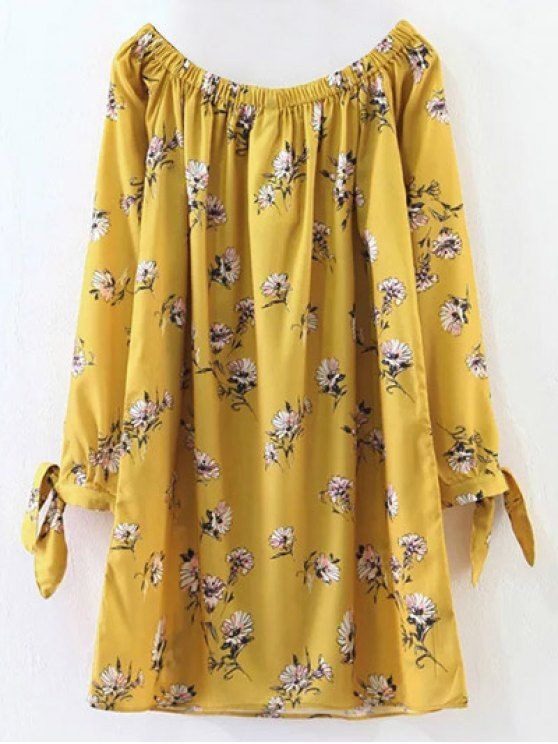Floral Off Shoulder Shift Dress - YELLOW S Mobile