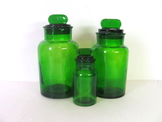 Vintage Set Of 3 Green Glass Canisters By Dirtybirdiesvintage, $65.00