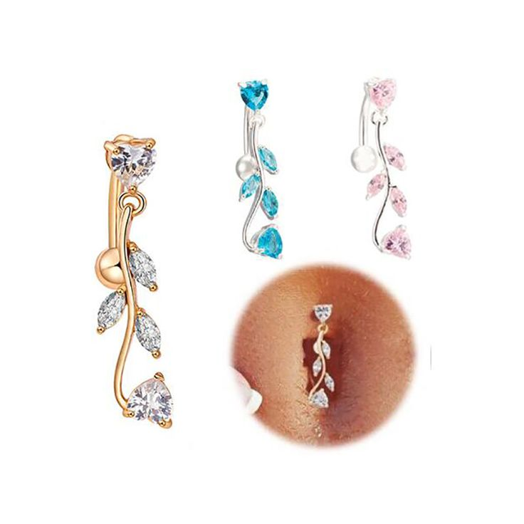 OAIITE AAA + Cubic Zirconia Anillo Del Vientre Del Ombligo Piercing Ombligo anillos de Plata y Oro de Color Hojas Joyería Del Cuerpo Del Ombligo Sexy Bar