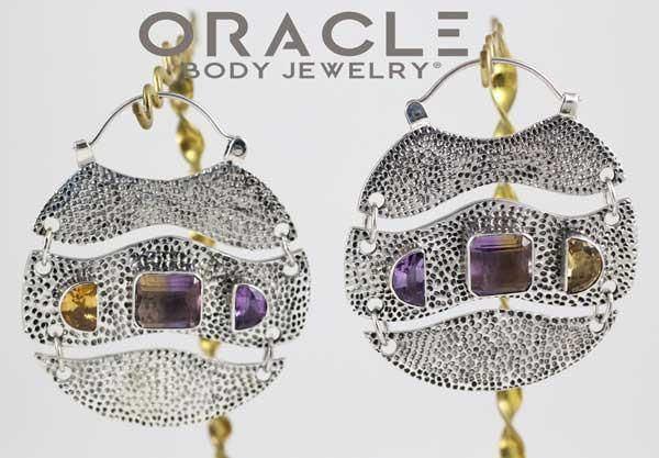 Trilogy Hoops in Sterling Silver with AAA Citrine, Amethyst, and Ametrine
