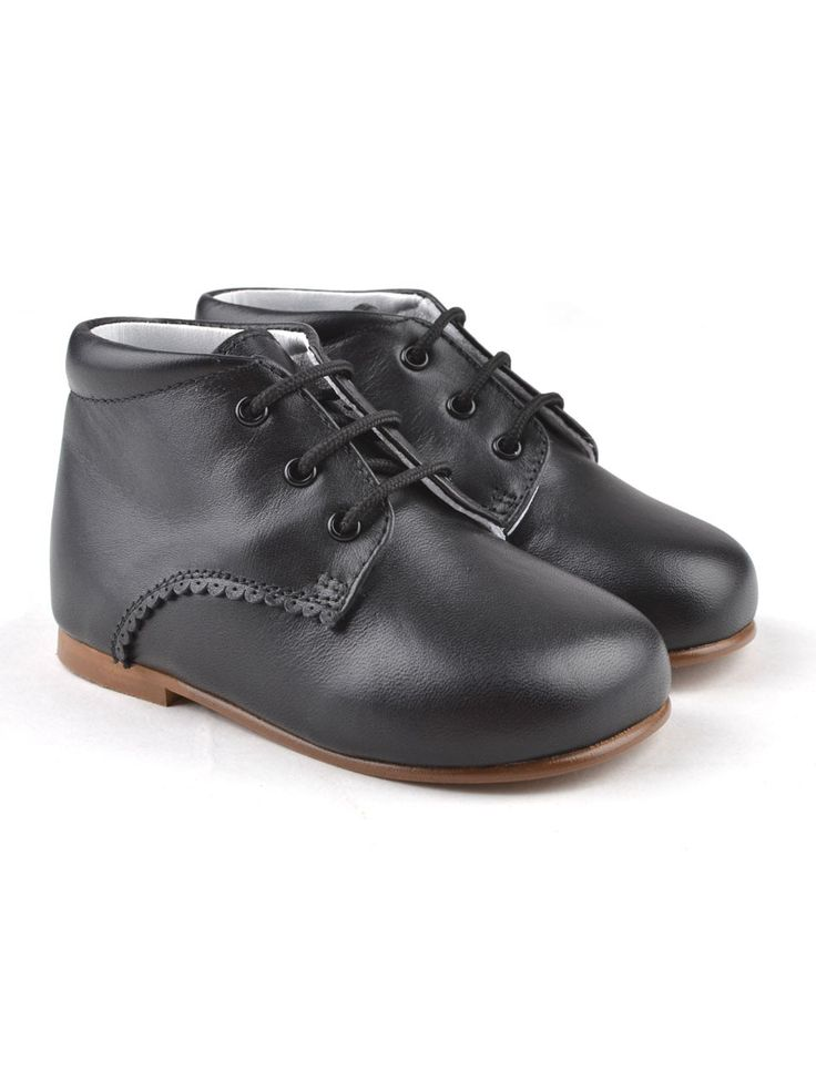 Handmade black classic laced toddler walking shoes from Eli