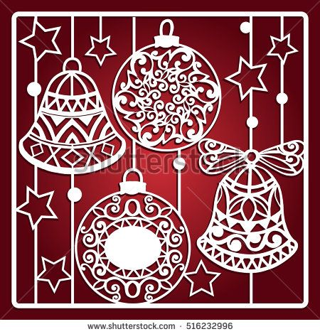 Christmas card with bells for laser cutting.  Laser cutting template. Christmas gift for wood carving, paper cutting and christmas decorations.