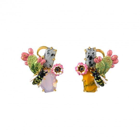 boucles d 39 oreilles abeille sur pierre multicolore bijoux fantaisie cactus nature insecte. Black Bedroom Furniture Sets. Home Design Ideas