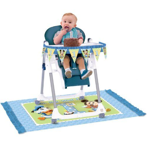 Baby Mickey Mouse 1st Birthday High Chair Decorating Kit Disney - Contains: Paper fringe pennant banner, 43 inches. 1 plastic mat with paper fringe, 47 x 30 inches. - Party Supplies - Toys - $8.60