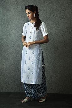 Linen block print kurti with indigo pants from #Benzer #Benzerworld #Ethnicwear #indowesternoutfits