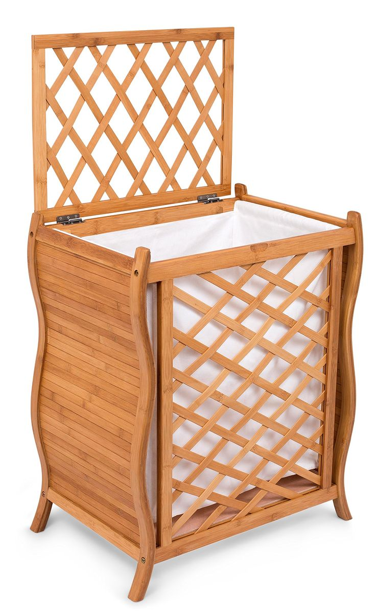 BirdRock Home Wave Bamboo Laundry Hamper with Lid and Cloth Liner | Easily Transport Laundry Basket | Trellis Bamboo Laundry Basket | Spa Natural Hamper