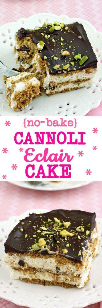 No-Bake Cannoli Eclair Cake #nobake #cannoli #cake