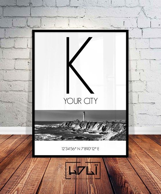 Custom City Print, City Sign Custom Print, Custom Printable, Custom Print, Custom Coordinates Art. Black and White Instant Download from HOLIxoPRINT at www.printablez.ca