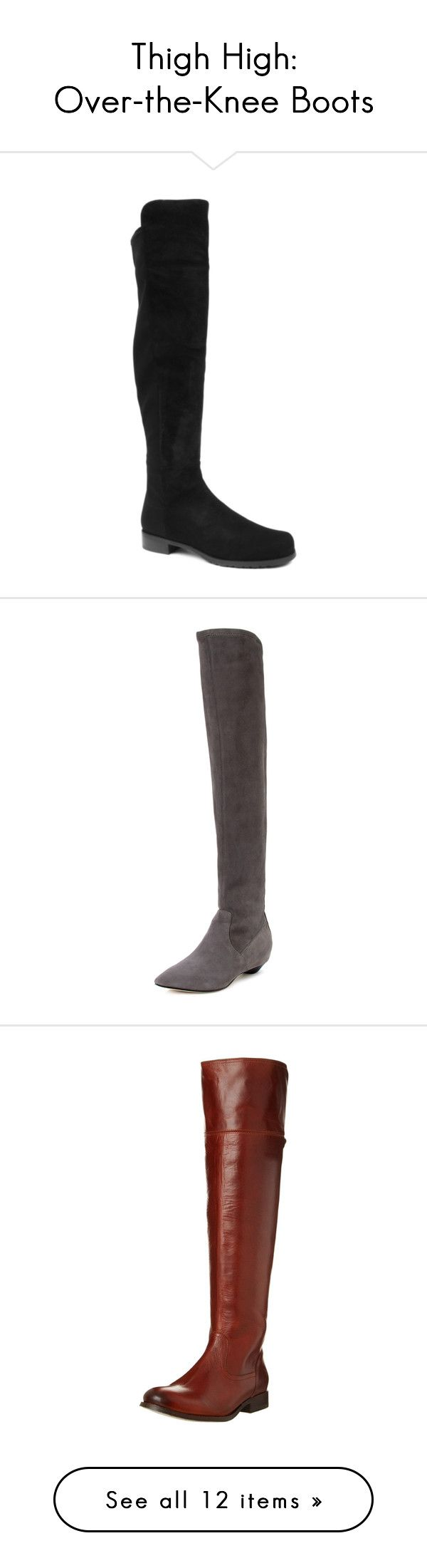 """Thigh High: Over-the-Knee Boots"" by polyvore-editorial ❤ liked on Polyvore featuring OverTheKneeBoots, shoes, boots, black, pull on work boots, pull on boots, black shoes, black riding boots, over the knee boots and grey"