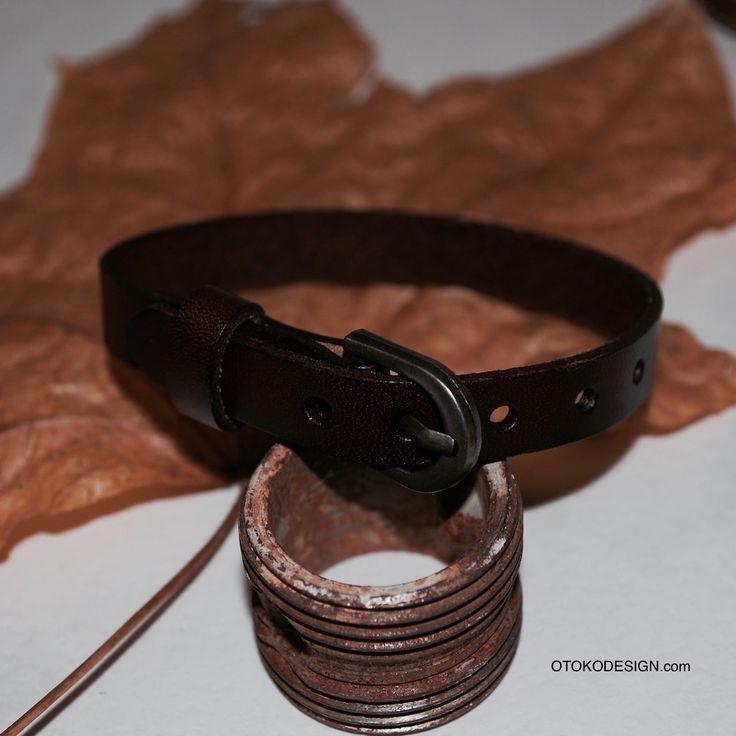 Купить Стильный браслет из полоски кожи коричневого цвета на классической застежке в интернет магазине бижутерии, аксессуаров и мужской одежды - Otokodesign.com