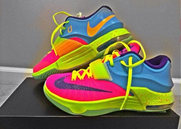 shoes colorful running shoes kds style rainbow nike nike sneakers nike id  nike running shoes sneakers multicolor multicolor sneakers kd customized  kds 6