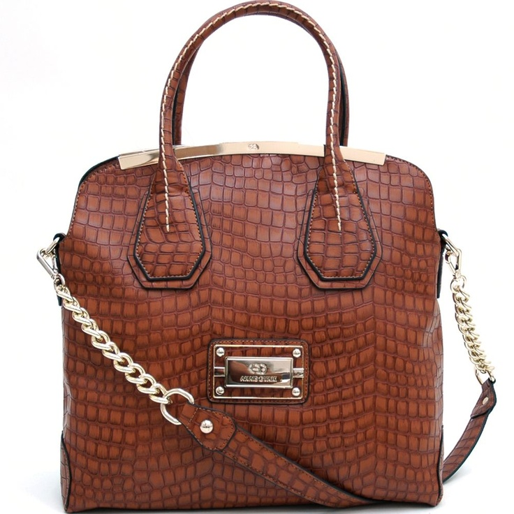 Large Gold-Trimmed Croco Tote Bag (Brown)