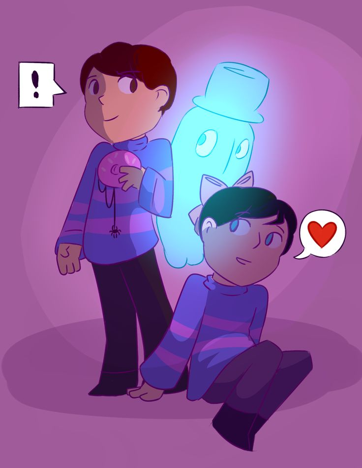 Dan and Phil - Undertale - Napstablook^^  Aw look, Dan's holding a spider doughnut and Phil's got a ribbon.