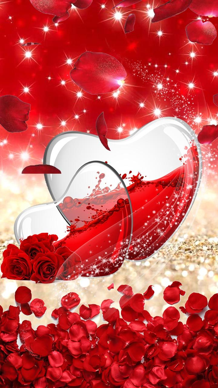 Wine 3d Wallpaper Red Roses Heart Glass Heart With Red Wine Filling With