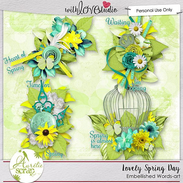"""Embellished Words-art """"Lovely Spring Day"""" by Aurélie Scrap. Some embellished words-art which will embellish your layouts... It contains : 4 embellished words-art"""
