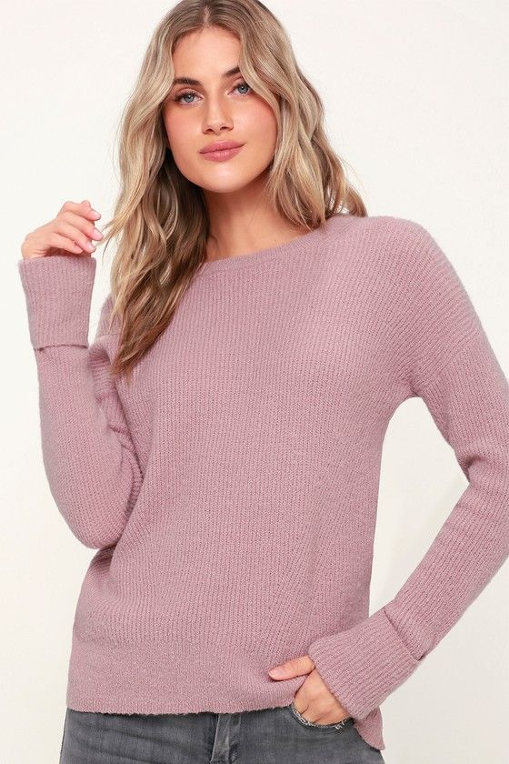 bd5248bbf Andie Lilac Knit Long Sleeve Sweater