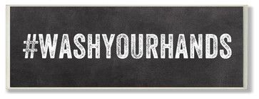 #WASHYOURHANDS Hashtag Bath Wall Plaque - contemporary - Novelty Signs - Stupell Industries