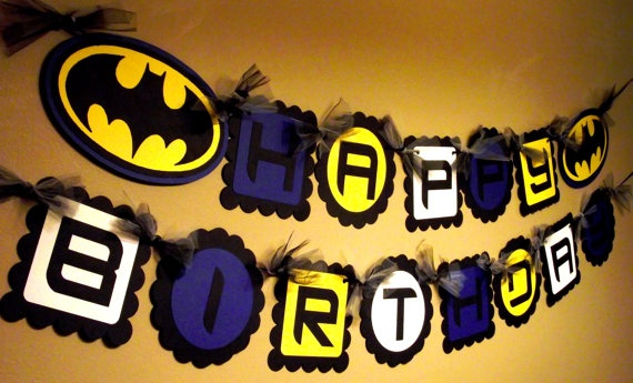 Batman Inspired Happy Birthday Banner by PaperPiecingDreams, $24.99